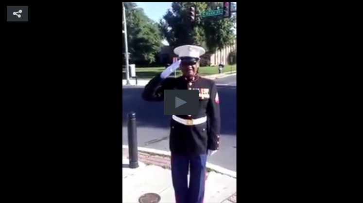 Marine Helps Protect Young Lives At Crosswalk Walk Play Button
