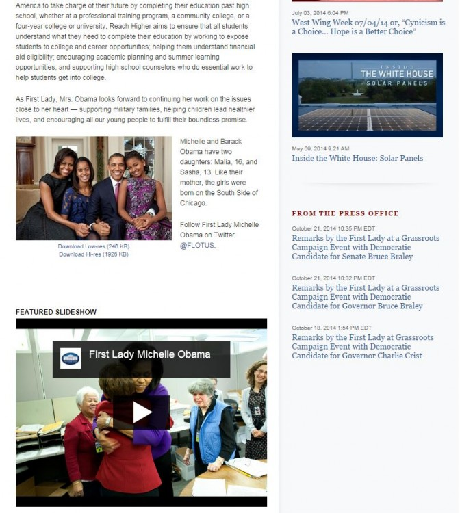 Bottom of the home page for the Office of the First Lady with the erroneous title Photo: Whitehouse.gov