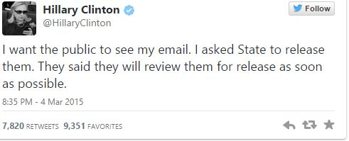 Hillary Clinton email tweet
