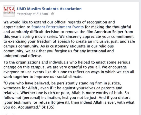 Image Credit: Facebook/UMD Muslim Students Association
