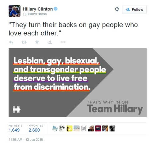 Hillary Clinton Tweet Gay Marriage