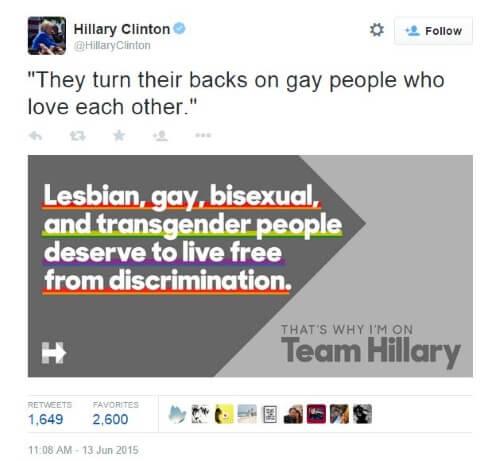 Hillary Clinton Tweet Gay Marriage