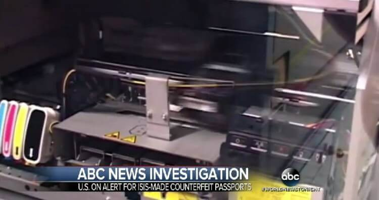 ISIS Passport Machine. Image Credit: Screenshot ABC News Video