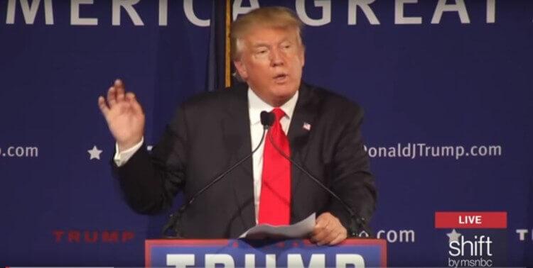 Donald Trump, USS Yorktown Speech. Image Credit: Screenshot MSNBC