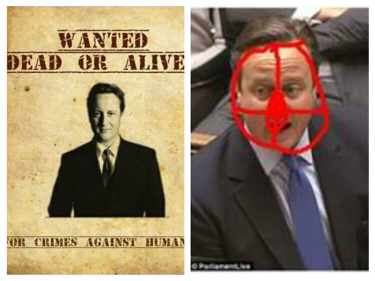 British Muslim convert Craig Wallace posted these threatening images of Prime Minister David Cameron on his Facebook page.