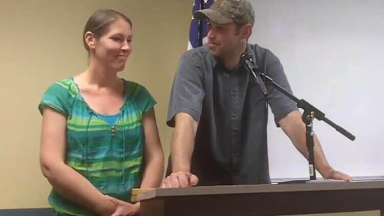 Image credit: YouTube Aaron and Melissa Klein speak at a news conference in June.