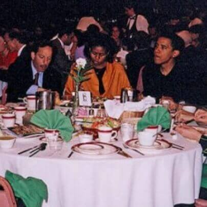 Khalidi with the Obamas at 2003 farewell dinner.
