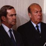 McFarlane (L) and Secretary of State George Schultz in 1983.