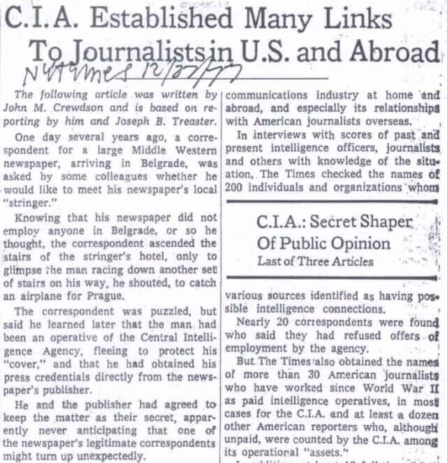 1977 NY Times article revealing CIA hires operatives in mainstream media outlets (click for full article)