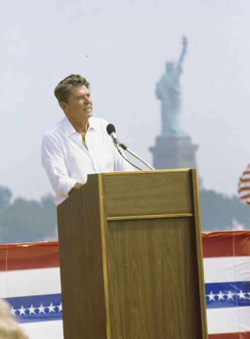 9/01/1980 Ronald Reagan giving a speech at Liberty State Park in Jersey City New Jersey
