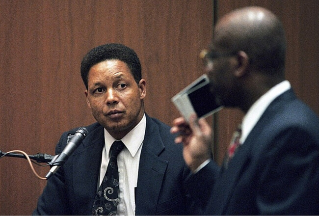 Ron Shipp is interviewed by Christopher Darden during the O.J. Simpson trial.