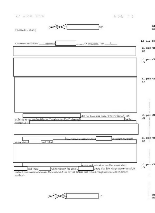 "Most of this FBI document is redacted ""per CIA."""