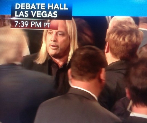 """Vince Neil"" at the debate. Credit: 97X"