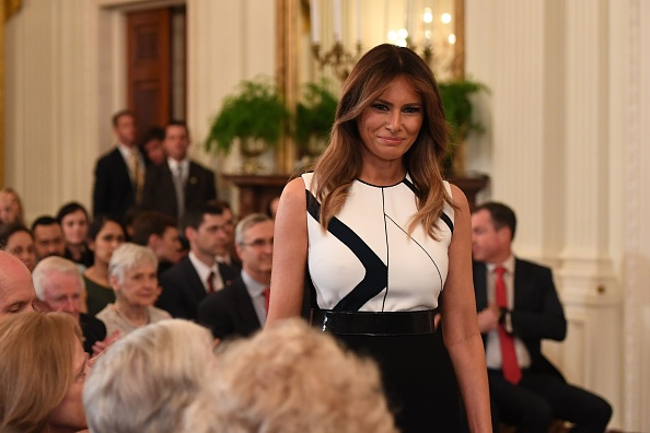 US First Lady Melania Trump arrives for the US president's announcement of his Supreme Court nominee in the East Room of the White House on July 9, 2018 in Washington, DC.