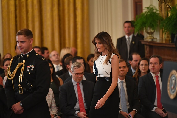 First Lady Melania Trump arrives to witness the US president announcing his Supreme Court nominee in the East Room of the White House on July 9, 2018 in Washington, DC.
