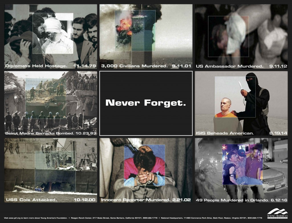 Poster remembering multiple events of radical Islamic terror, including the World Trade Center attack on Sept. 11, 2001.