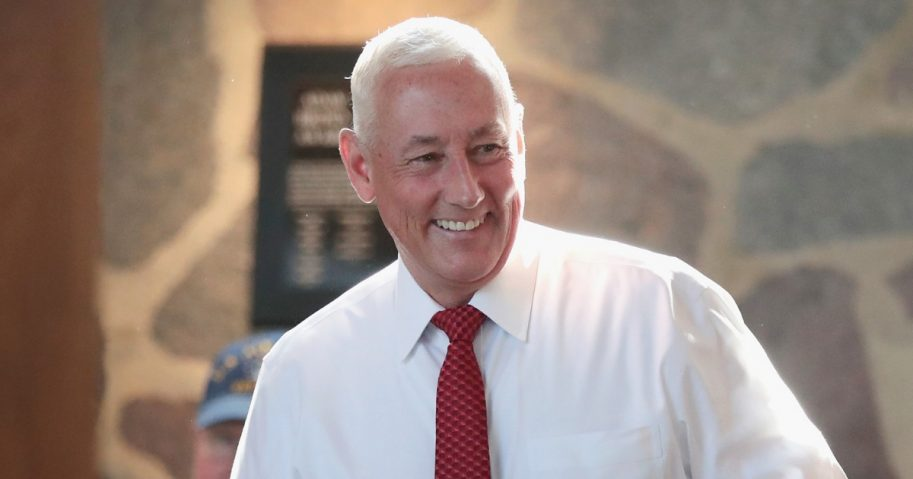 Greg Pence, Republican candidate for the U.S. House of Representatives, arrives at a primary-night watch party May 8 in Columbus, Indiana. He is the older brother of Vice President Mike Pence.