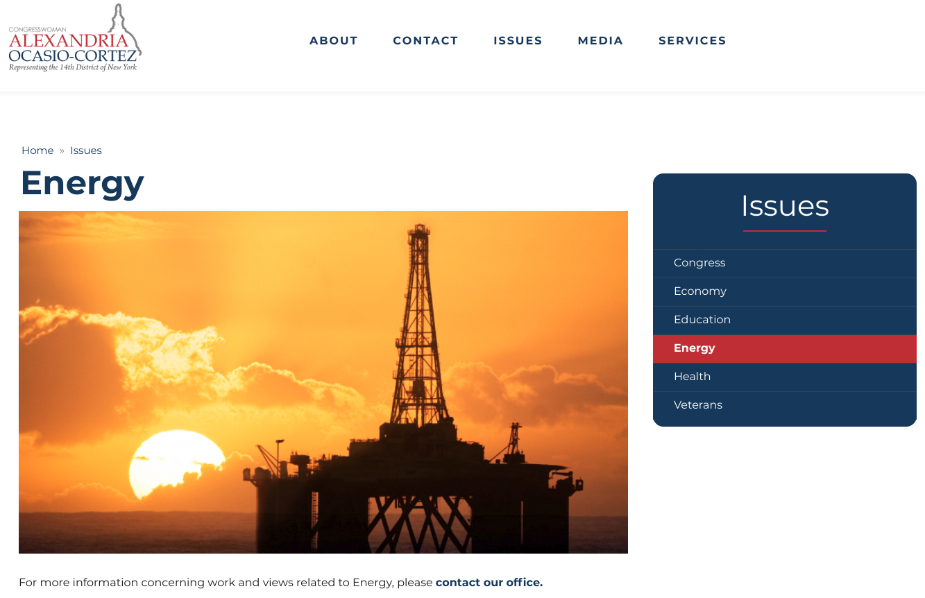 A screen shot from Rep. Alexandria Ocasio-Cortez's energy page on her House website on Friday afternoon, Feb. 8, 2019.