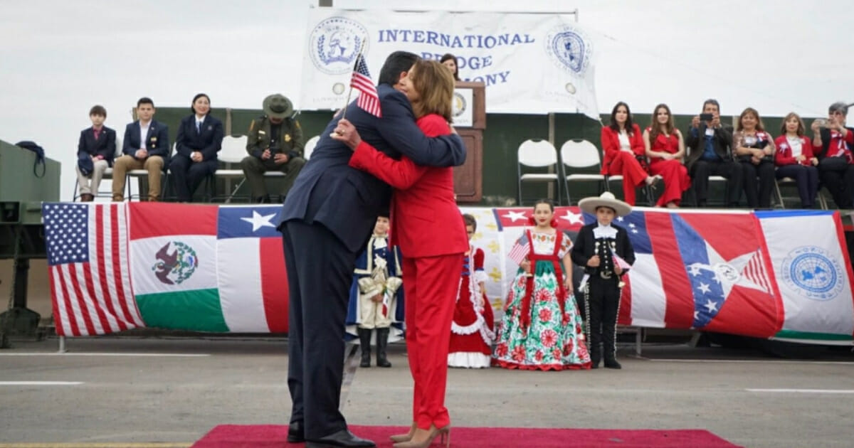Pelosi Joins Forces with Mexican Officials at the Border To Celebrate 'International Bridge Ceremony'