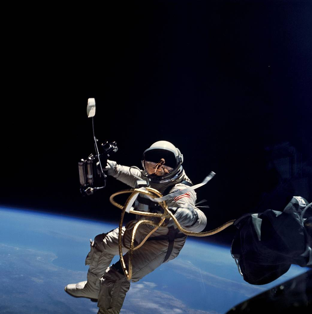 Ed White became the first American to conduct a spacewalk on June 3, 1965 and is seen in this photograph taken by Commaner James McDivitt.