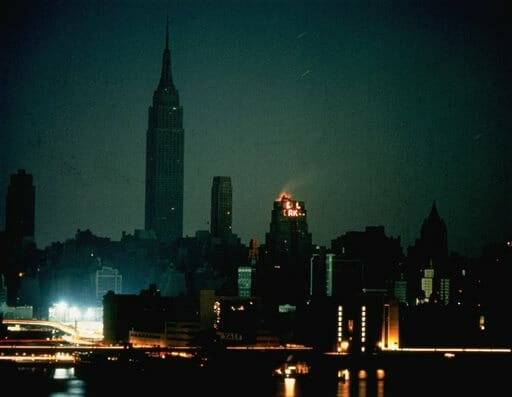 In this Nov. 9, 1965, file photo, New York City is seen in darkness from the Queens neighborhood of Long Island City during a power failure that left most of the northeastern United States and parts of Canada without power for hours.