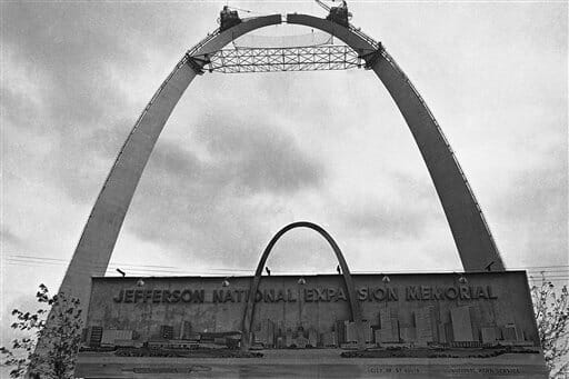 The next-to-last eight-foot stainless steel section is being fitted into the top of the Gateway Arch, Oct. 19, 1965, St. Louis, Missouri.