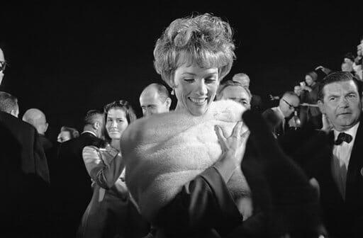 British actress Julie Andrews arrives at Santa Monica, California, auditorium for this year's Academy Award presentations, April 18, 1966.