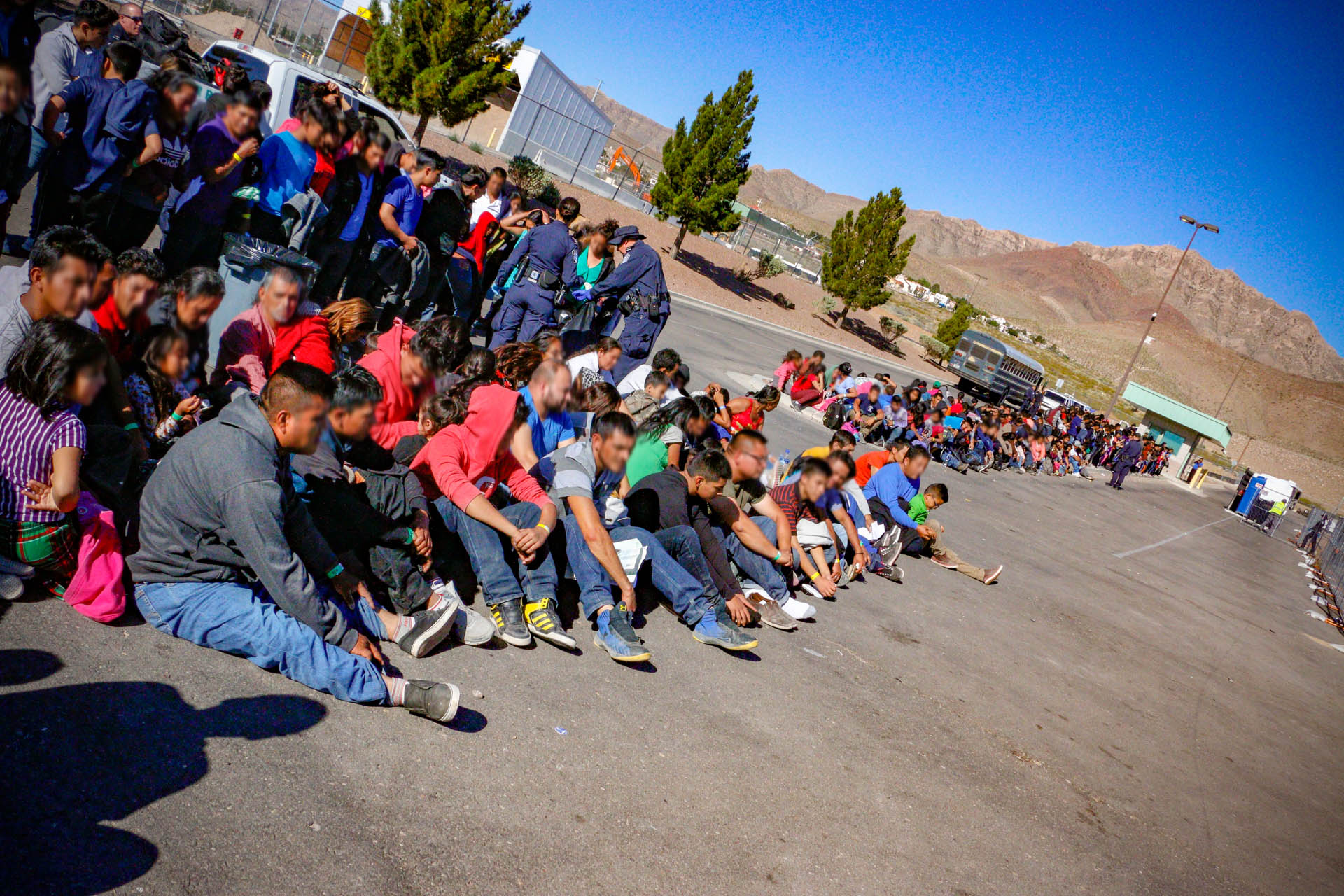 A group of illegal aliens walk up to Border Patrol Agents near 2nd Street in El Paso, Texas.