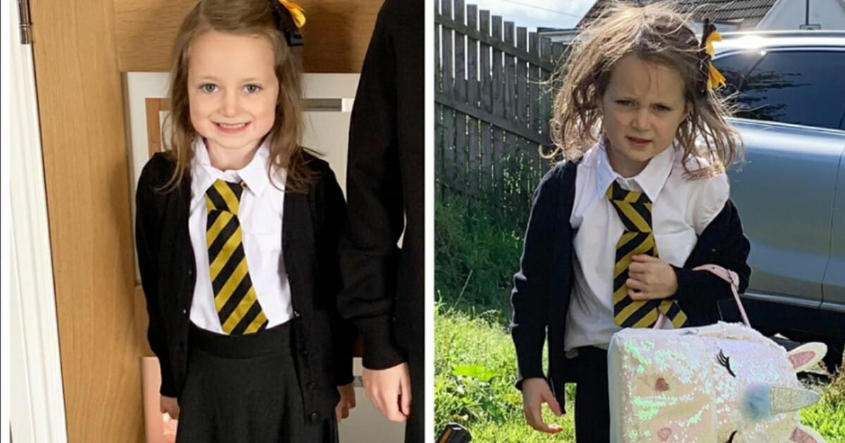 Mom Shares After-School Photograph of Age 5 Daughter's 'Eventful' First Day