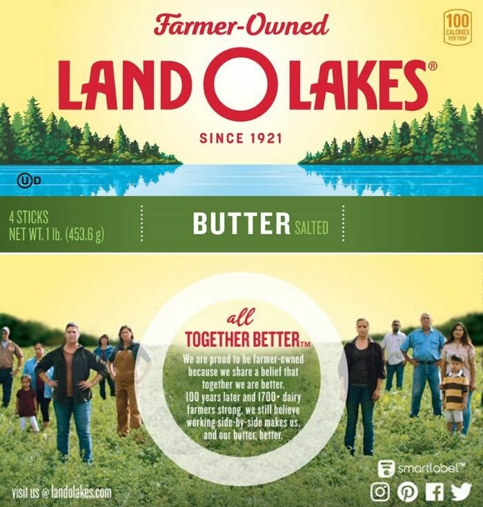 New Land O'Lakes butter packaging.